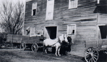 Team and wagon at the Old Mill - 1914